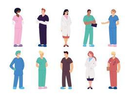 uppsättning vårdpersonal läkare och sjuksköterskor