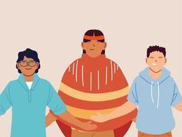 multiethnische Gruppe von Männern, die zusammen stehen
