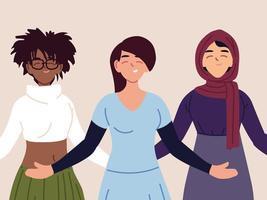 Porträt von multiethnischen Frauen zusammen vektor