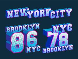 New York City und Brooklyn T-Shirt Druckstempel vektor