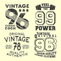 vintage t-shirt tryck stämpel för t-shirts applikation vektor