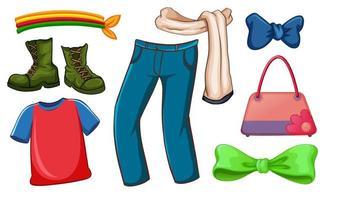 Satz von Mode-Outfits und Accessoires auf weißem Hintergrund vektor