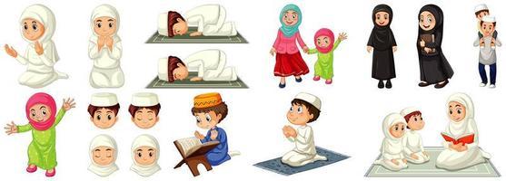 uppsättning olika muslimska seriefigurer vektor