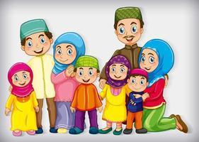 muslimsk familjemedlem på tecknad karaktär färg tonad bakgrund vektor