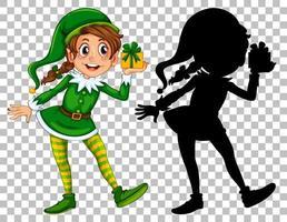 Elf hält Geschenkbox