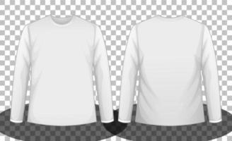 weißes Langarm-T-Shirt vorne und hinten vektor