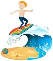 isolerad surfare på stranden vektor