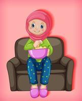 kvinnlig muslimsk tecknad film på karaktär som äter popcorn vektor