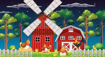 gårdsplats med ladugård och väderkvarn och kyckling på natten vektor