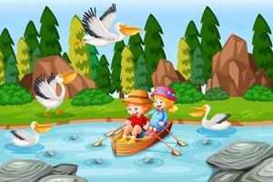 barn roar båten i strömskogsplatsen