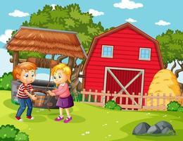 lycklig familj i gårdsplats i tecknad stil