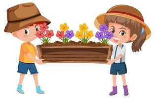 Junge und Mädchen, die Blume im Topfkarikaturcharakter lokalisiert auf weißem Hintergrund halten vektor
