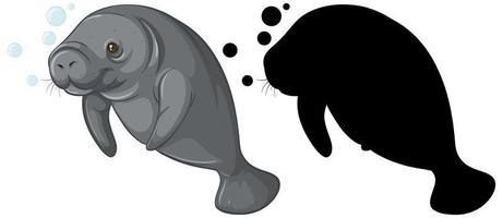 uppsättning dugongkaraktärer och dess silhuett på vit bakgrund vektor