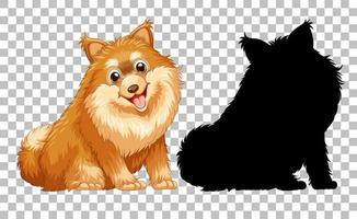niedlicher pommerscher Hund und seine Silhouette auf transparentem Hintergrund