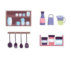 Küchenutensilien mit Gewürzen und Kochikonen Design vektor