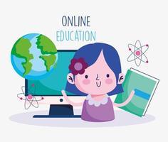 flicka med dator och pedagogiska ikoner