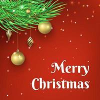 röd jul bakgrundsdesign med guldbollprydnad vektor