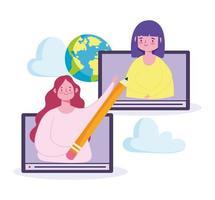 Online-Lehrer mit Schüler vektor