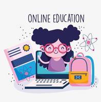 flicka på en bärbar datorskärm med utbildning ikoner vektor