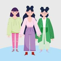 weibliche Avatare Cartoons mit schwarzen Haaren vektor
