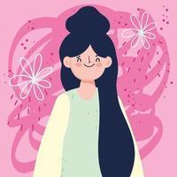 Frau mit schwarzen langen Haaren