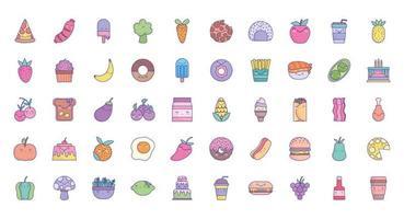 söt tecknad mat ikonuppsättning
