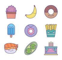 söt tecknad mat ikonuppsättning vektor