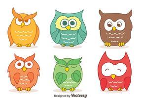 Farben Hand gezeichnet Owl Sammlung Vektoren