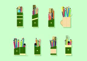 Bamboo Pen Holder Gratis Vector