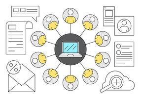 Set von Business-Mitarbeiter Verbindungssymbole vektor