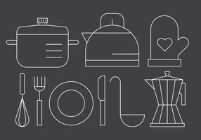 Freie Linear Küchenutensilien vektor