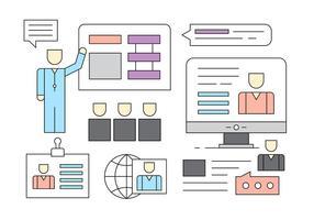 Freie Linear Geschäftsleute Management-Icons vektor