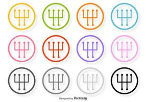 Gangschaltung Vector Linie Icons