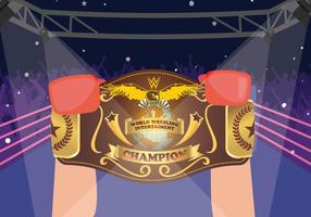Boxer Winner Holding VM Belt Vector