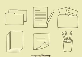 Hand gezeichnet Büro Werkzeugvektoren