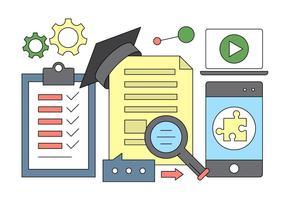Online utbildning och lärande ikoner i vektor