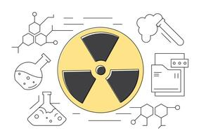 Vetenskap och kemi tunn linje Ikoner