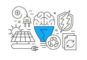 Ny Energi och Återvinning tunna linjer utformade ikoner