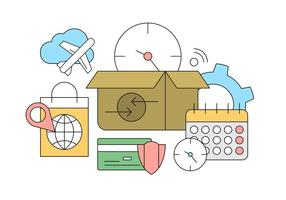 Online Shopping och leverans ikoner i vektor för gratis