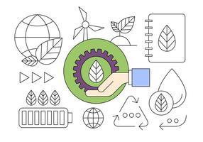 Ny Energi och ekologiskt kretslopps tunna linjer utformade ikoner
