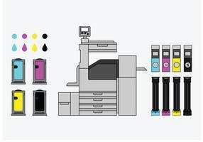 Patronentypen und Kopiergerät Vektoren