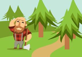 Skogsarbetare Med Yxa