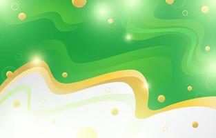 grüner Wellenflüssigkeitshintergrund mit Goldakzent vektor