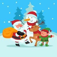 Weihnachtsmann und sein Helfer vektor