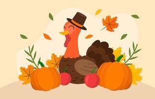 en kalkon i hatt firar tacksägelse