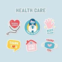 Nachrichtenaufkleber, die Gesundheitsbeauftragten danken vektor