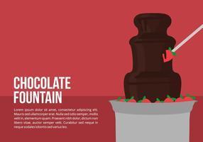 Choklad fontän med jordgubbar vektor