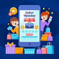 freudige kunden kaufen am cyber montag großen verkauf ein