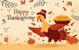 Thanksgiving-Truthahn mit einem Kuchen vektor