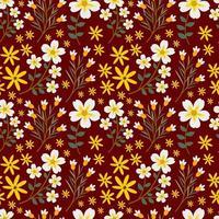 vitt och gult blommönster sömlöst vektor